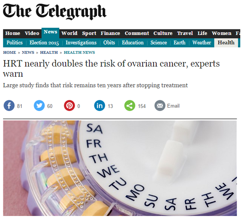 Telegraph ovarian cancer risk statistics